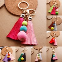 Wholesale ship keychains resale online - New Arrival Tassel Pom Poms Keychain Bohemian Handbag Bags Pendant Key Rings Styles For Choose Support FBA Drop Shipping D190Q