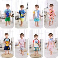 Wholesale baby boys girls animal for sale - 2019 New summer baby costume fashion cartoon print baby boys girls clothes sets cotton Y clothing sets for baby boys girls