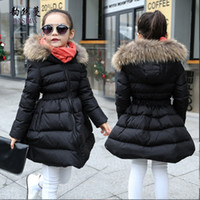 красное мягкое пальто оптовых-Children Winter Coat for Girls 4 6 8 10 to 12 Years Long Sleeve New Black Red Hooded Cotton-padded Jacket Kids Clothing 12R16A