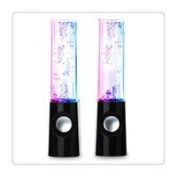 su dansı çeşmesi hoparlörü toptan satış-Yeni Taşınabilir Hoparlörler Mini Bilgisayar LED Işık Dans Su Gösterisi Müzik Çeşmesi Dizüstü PC Için Hafif