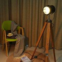 lâmpadas de chão de madeira venda por atacado-sala de tripé Floor Lamp Standing Luzes Vivo Decor Reading Iluminação de madeira Triângulo minimalista moderno industrial Luminaire