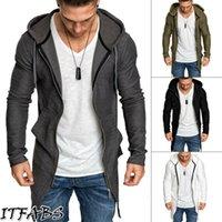 gevşek kazak toptan satış-Erkekler Sonbahar Slim Fit Kapşonlu zıvana, Coat Ceket Gevşek Casual Katı Fermuar Dış Giyim Triko Sıcak Kaban Ceket Kıyafetler