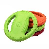 rad fliegendes spielzeug großhandel-10 teile / los Haustier Hund Flying Disc Weiche EVA Floatable Rad Shaped Haustier Hund Frisbee Interaktives Spielzeug