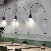 Wholesale bulb ac plug for sale - Group buy Industrial Postmodern Swing Arm Adjustable Led Wall Lamp with Plug Iron Art Decor Wall Light Living Room Background Store Studio