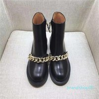 Wholesale bling ankle boots for sale - Group buy Hot Sale Best selling women boots fashion Metal chain low heels high quality leather ankle boots zipper bling Short Booties shoes