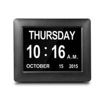 große elektronik großhandel-7 Zoll LED elektronischen Kalender Uhr große digitale Wandkalender Zeit Tag Woche Jahr weiß / schwarz DC 5V Home Decoration Clock