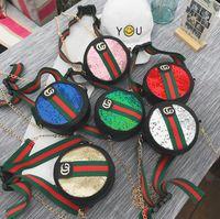 ingrosso borsa in pelle per bambini-Kids G Letter Bag 6 Colori Paillettes Canvas PU Leather Cross Body Satchel Marsupio Borsa a catena LJJO7001
