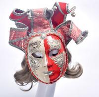 mascarilla morada al por mayor-Pintado a mano, cara completa, púrpura, veneciana, vintage, mascarada, máscara de pared, carnaval, disfraz, máscara, con, campanas, mardi gras, un tamaño, más, multi-colo