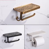 Wholesale paper phone holder resale online - Simulation Antique Carving Toilet Paper Holders Mobile Phone Support Punch Free Papers Towel Holder Square Black White dw C1