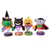juguete de calabaza de plástico al por mayor-4 estilos de dibujos animados de Halloween Candy Jar Toys 11 * 9cm Pumpkin Black Cat Cute Plastic Candy Jar Party Scene Decoration L316
