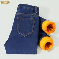 ingrosso jeans caldi neri-Jeans caldi di inverno per le donne da donna elastici pantaloni skinny morbidi addensato jeans neri più velluto spessi isolati Jeans
