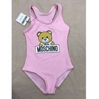Wholesale baby bikinis swimsuits resale online - Girl One Pieces Bikini Cartoon Bear Printed Swimsuit Fashion High Waist Baby Bathing Suit Summer Beach Kids Swimwear