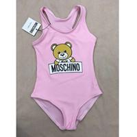 praia bebê maiôs venda por atacado-Menina One-Pieces Biquíni Urso Dos Desenhos Animados Impresso Swimsuit Moda Cintura Alta Bebê Maiô Verão Praia Crianças Swimwear