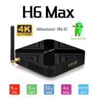 android media player iptv großhandel-2019 heißeste H6 MAX 4 GB 32 GB Android 9.0 TV-Box Unterstützung 6K 4K IPTV Media Player PK X96 MINI H96 MAX