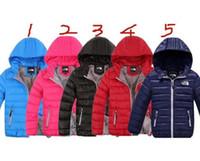 çocuklar kış bezleri toptan satış-Kuzey Tasarımcı Kışlık Mont Genç Çocuklar NF Marka Aşağı Ceketler Erkek Kız Kapşonlu Dış Giyim Yüz Hafif Aşağı Açık Bez Giymek C8802