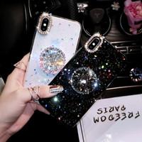 cas de téléphone couverts de diamant achat en gros de-Pour iPhone 7 8 Cas De Luxe Diamant De Paillettes Couverture Pour iPhone X XS Max XR 6 7 8 Plus Strass 3D Poignée Support Titulaire Téléphone Cas