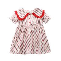 coreano moda vestidos para crianças venda por atacado-Bebê menina vestidos de moda verão coreano lapela amor coração princesa vestido amarelo vestidos de baile crianças roupas de grife meninas doce vestido de luxo