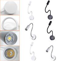 beyaz hortumlar toptan satış-Açık / kapalı 3W 5W Beyaz Esnek Hortum LED Duvar lambası Esnek Kol Işık Lambası Merdiven Çocuk odası Başucu Duvar Lighting Modern Anahtarı