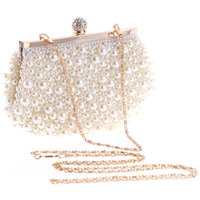 ingrosso borsa bianca della perla-Evening Wedding Clutch Handbag Pearl Bag Dress Dinner Bag Piccola borsa damigella borsa bianca