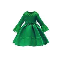 vestidos de noche de otoño para niños al por mayor-2019 Primavera y otoño Vestido de niñas Vestido de manga larga con encaje de manga larga Vestido de princesa para niños