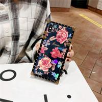 ingrosso caso di glitter blu-Mytoto Luxury Blue Ray Rose Flower Case per iPhone X XS XR Max Glitter Metal Blue Blue Square Case per iPhone 8 7 6 6S Plus