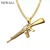 maschinengewehr anhänger großhandel-Newall Edelstahl Männer Maschinengewehr Anhänger Halskette Perlenkette Gold Geschenk männliche Halskette Punk Modeschmuck koreanische Mode