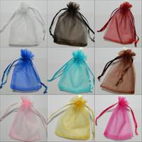 sırf organza çanta lehine toptan satış-Toptan 50 adet Sheer Organze Düğün Favor Hediye Takı Boncuk Şeker Çanta Çanta Yeni Toplu