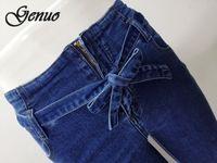 ingrosso cadono abbigliamento vintage-Jeans svasati in vita con cravatta blu scuro Pantaloni in denim da donna Abiti vintage da donna 2019 Pantaloni a vita alta autunno Jeans elasticizzati con cintura