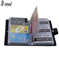 bolsas de nombres de negocios al por mayor-Titular de la tarjeta de negocios Black 156 Bank WomenMen Card Bags Nombre ID Business Leather Credit Case Holder Ls8916fb