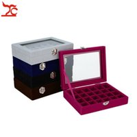 Wholesale glass ring display case for sale - Group buy Jewelry Display Box Velvet Storage Box Glass Lid Jewelry Box Velvet Display Organizer Ring Necklace Case Grids Tray