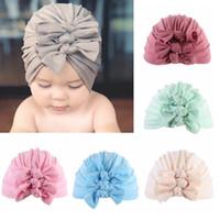 weicher baumwollturban groihandel-Baby Hat Bow Turban Hat Newborn Cotton Kids Soft-Bow Kappebeanie Designer-Baby-Bogen-Turban Kappen 20 Farbe HHA1052