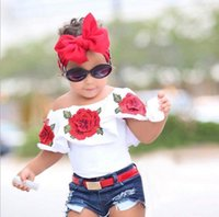 ingrosso hots ragazza jeans-Vestiti per bambini piccoli vestiti per bambina estate fiore senza maniche top jeans denim caldo abito corto ragazze set