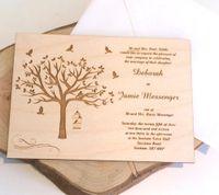 gravierte einladungen großhandel-Rustikale Hochzeitseinladungen, hölzerne Hochzeitseinladungen, lasergravierte Einladungen