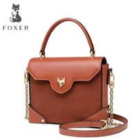 ingrosso tipi borse per ragazze-FOXER Marca 2019 borse Lady Retro Tipo Box Khaki Flap Tote di spalla delle donne della mucca Split Leather Bag svegli di disegno di moda per la ragazza