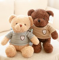 Wholesale valentines day teddy bear gift resale online - Factory sweater teddy bear plush toys Stuffed Animals teddy bear pillow Valentine gift DHL