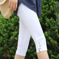 Wholesale plus size leggings sale resale online - Sale Hot Women s Plus Size S xxxl Summer Slim Waist Candy Color Stretch Leggings Capris Fashion Pencil Pants Crops For Female