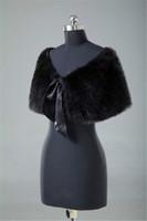 Wholesale bolero white fur capes resale online - New Black Faux Fur Bridal shrug Wedding Cape Coat Shawl Party Ribbon Bow Wrap bridal Stloe Bolero