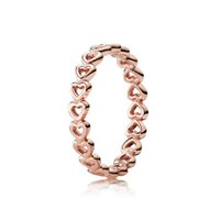 hören ringe groihandel-Heart-to-hear Ring Rose Gold Ring Original Box fit Pan Schmuck herzförmigen hohlen Gold-Flipping Ehering für Frauen W148