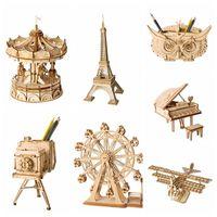 decoração de madeira 3d venda por atacado-Decoração de casa DIY Estatueta De Madeira Em Miniatura 3D Enigma De Madeira Montagem Acessórios Modelo de Desktop Decoração Do Vintage Artesanato