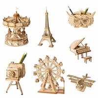 ingrosso miniature d'epoca-Decorazione per la casa Fai da te Miniatura in legno Figurina 3D Assemblaggio puzzle in legno Accessori modello vintage Desktop Decor Craft