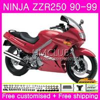 93 ninja verkleidungskit großhandel-Karosserie Für KAWASAKI NINJA ZZR-250 ZZR250 90 91 92 93 94 99 75HM.0 ZZR 250 1990 1991 1992 1993 1994 1999 Vollverkleidungssatz Glänzend Rot Scharf