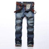 vendas de jeans venda por atacado-2018 Hot Sale Da Moda Dos Homens Jeans Marca Em Linha Reta Fit Jeans Rasgado Designer Italiano 100% Algodão Afligido Denim Homme