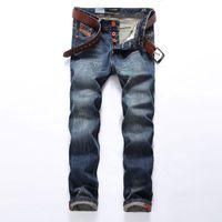горячие дизайнерские джинсы оптовых-2018 Hot Sale Fashion Men Jeans Brand Straight Fit Ripped Jeans Italian Designer 100% Cotton Distressed Denim Homme