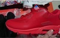 schwarze weiße fahnen großhandel-Herren Sneakers Schuhe Classic 90 Men Designer alle schwarz weiß rote Flagge Schuhe Sport Trainer Oberfläche Atmungsaktiv Sportschuhe 40-45