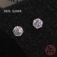 Wholesale cz stud earrings resale online - Simple Fashion Jewelry Stunning Real Sterling Silver Round Cut White Topaz CZ Diamond Gemstones Party Women Wedding Bridal Stud Earring