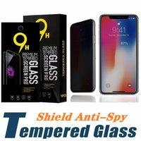 iphone plus protetor de tela pacote de varejo venda por atacado-Anti-espião de vidro temperado para iphone x xs max xr 8 7 6 plus protetor de tela de privacidade para samsung s7 s6 com pacote de varejo
