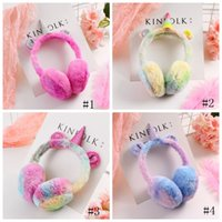 Wholesale warm fleece ear muffs resale online - Unicorn Ear Muffs Winter Thicken Plush unicorn Earmuffs fleece Solid Color Kids Ear Warmer Earmuffs Cartoon Accessories GGA1392
