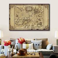 ingrosso mappe di pitture a olio-Magicing World Of Harry Potter Mappa Dipinti su tela Modern Oil Printing Art Poster Immagini di parete decorativa Decorazione della casa
