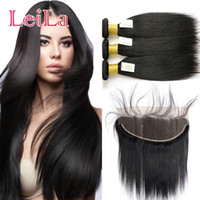 Wholesale virgin hair 34 silky straight resale online - Malaysian Unprocessed Virgin Human Hair With Frontal Ear To Ear x4 Lace Frontal Closure With Bundles Silky Straight inch