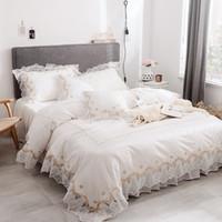 kore tekstilleri toptan satış-Ev Tekstili% 100% Pamuk Beyaz Dantel Yatak seti Kral Kraliçe Ikiz boyutu Katı Prenses Yatak seti Kız Kore Nevresim seti Yatak etek Yastık Kılıfı